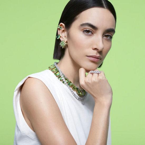 Swarovski øredobber Millenia clip earring Single, green, gold-tone plated - 5598358