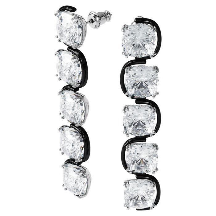 Swarovski øredobber Harmonia drop earrings Cushion cut floating crystals, white, mixed - 5600043