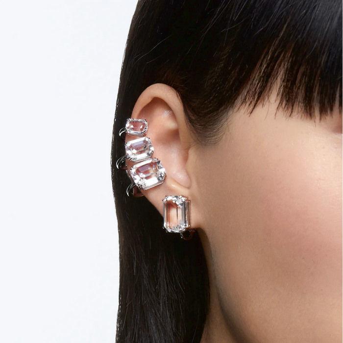Swarovski øredobber Mesmera clip earring Single, Octagon cut crystal, white, rhodium - 5600860