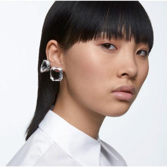 Swarovski øredobber Mesmera clip earring Single, Square cut crystal, white, rhodium - 5600756