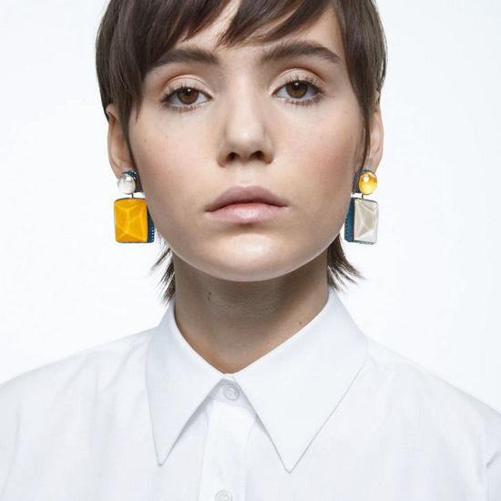 Swarovski øredobber Orbita earrings Asymmetrical, Square cut crystal, multicolore - 5600522