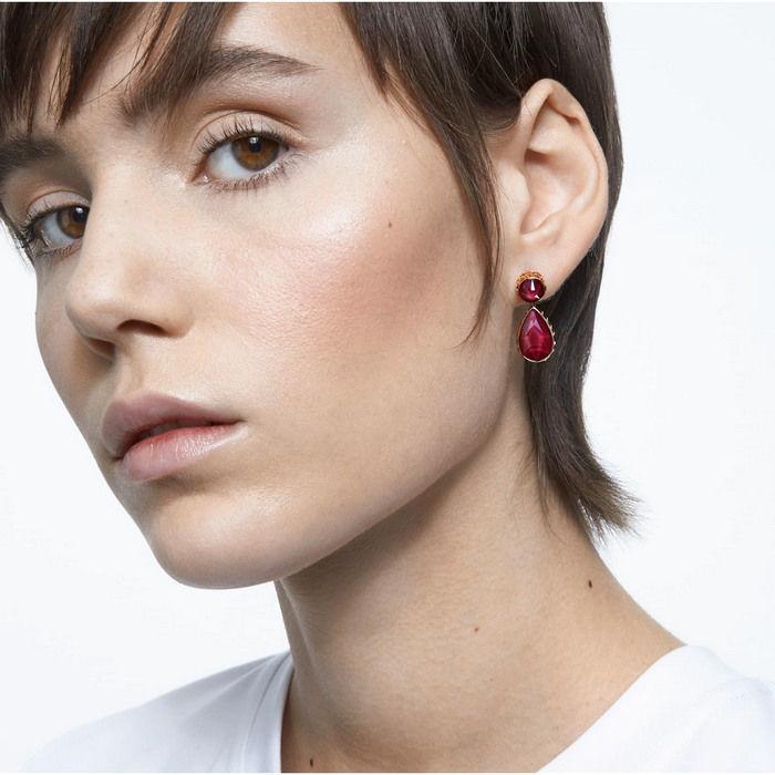 Swarovski øredobber Orbita earrings Asymmetrical, Drop cut crystals, white, gold - 5600523
