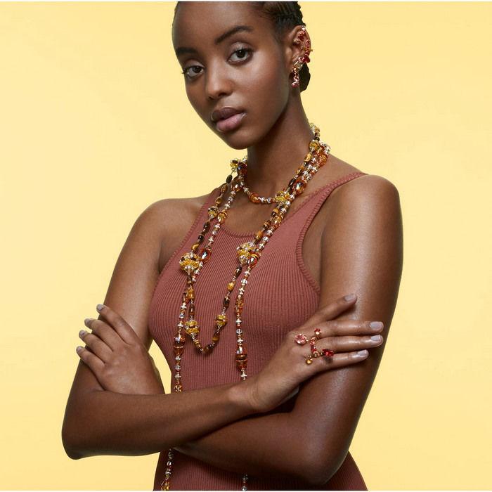 Swarovski øredobber Gema clip earrings Multicolored, gold-tone plated - 5600762