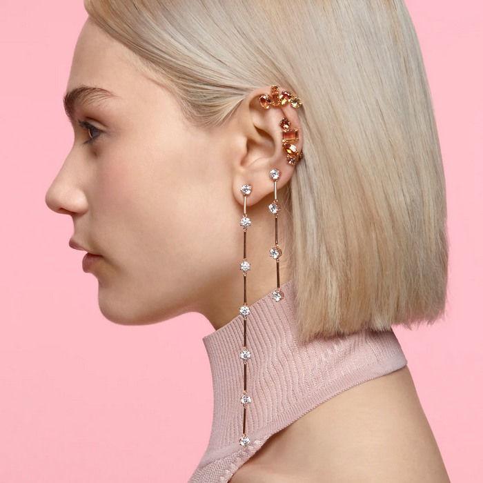 Swarovski øredobber Constella earrings Asymmetrical, White, Rose-gold tone plated - 5609707
