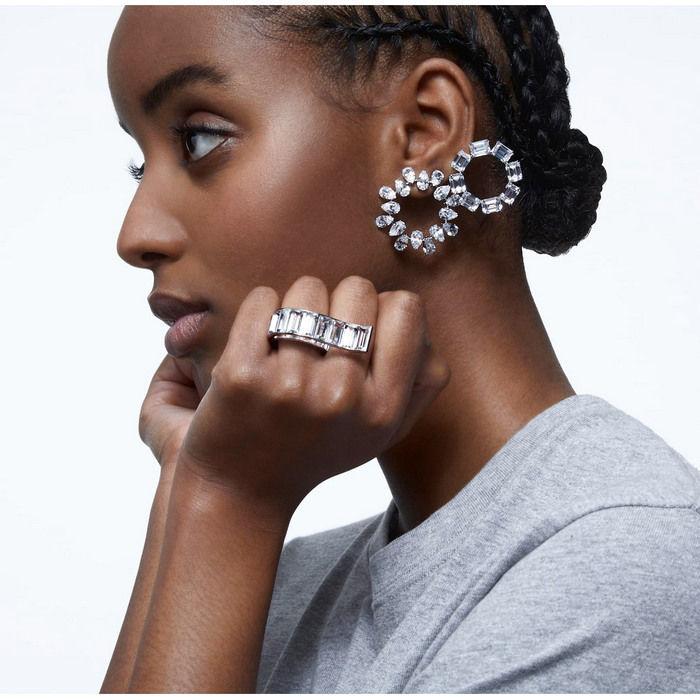 Swarovski øredobber Millenia earrings Circle, white, rhodium plated - 5601509