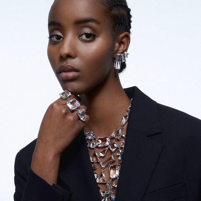 Swarovski øredobber Mesmera clip earring Single, Set, Baguette cut crystal, White - 5601534