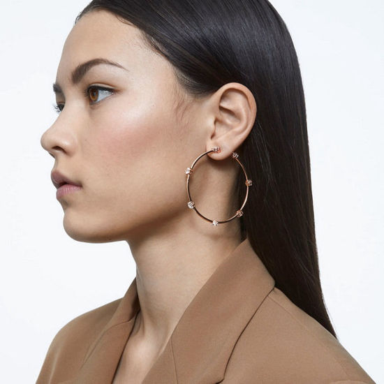 Swarovski øredobber Constella hoop earrings White, Rose-gold tone plated - 5609706