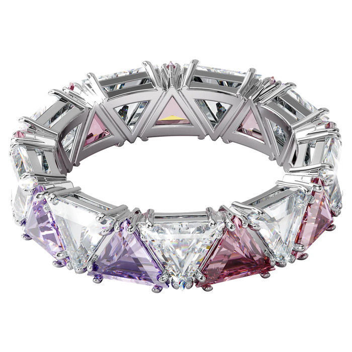 Swarovski Millenia cocktail ring Triangle cut crystals, Purple, Rhodium plated - 5600765
