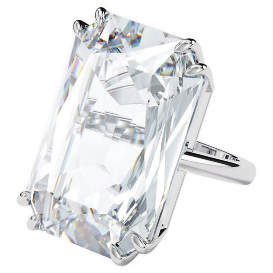 Swarovski Mesmera cocktail ring Oversized crystal, White, Rhodium plated - 5600858