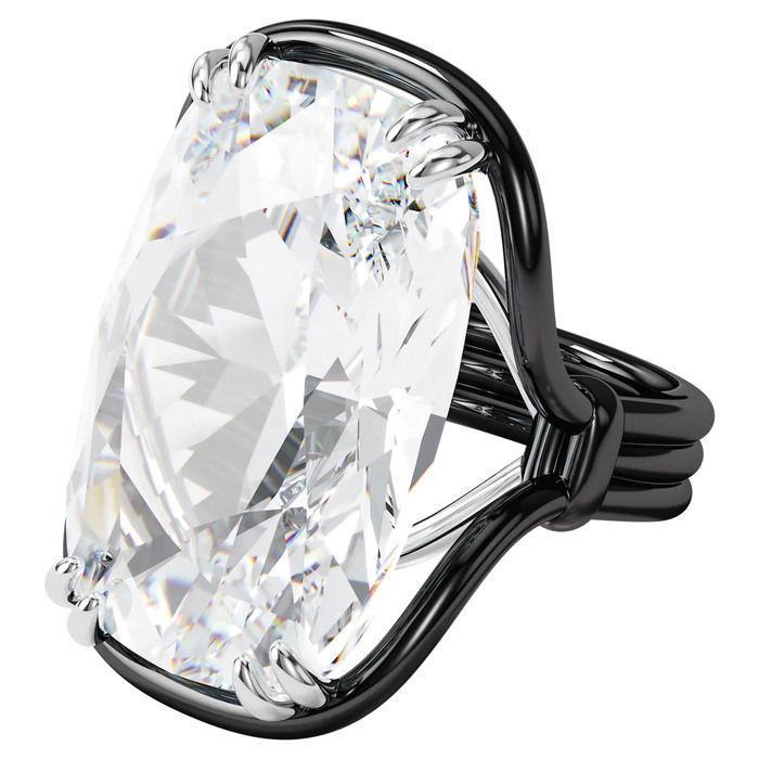 Swarovski Harmonia ring Oversized floating crystal, White, Mixed metal - 5600946