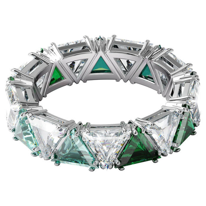 Swarovski Millenia cocktail ring Triangle cut crystals, Green, Rhodium plated - 5608529