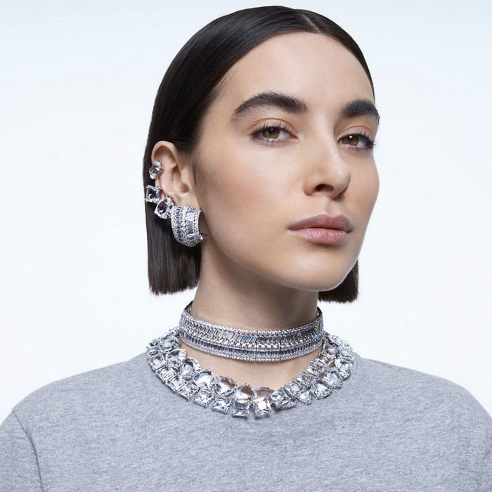 Swarovski smykke Millenia necklace Square cut crystals, White, Rhodium plated - 5599206