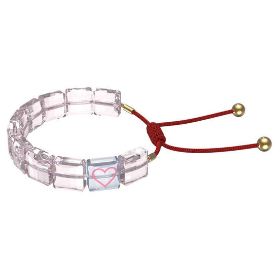 Swarovski årmband Letra bracelet Heart, Pink, Gold-tone plated - 5615001