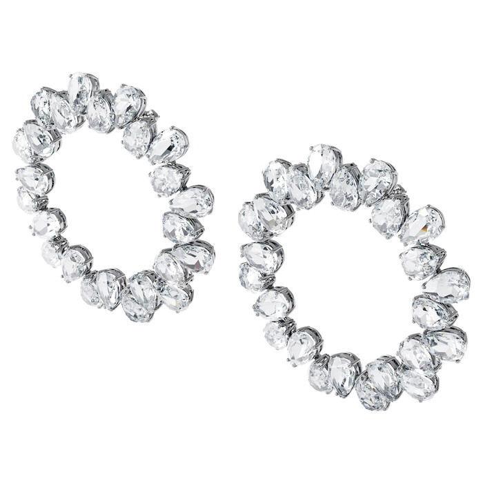 Swarovski øredobber Millenia earrings Circle, White, Rhodium plated - 5608814