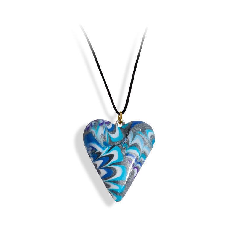 Håndlaget hjertesmykke  Hidden Magic, havbølger, mønster 24x28 mm - 28020732