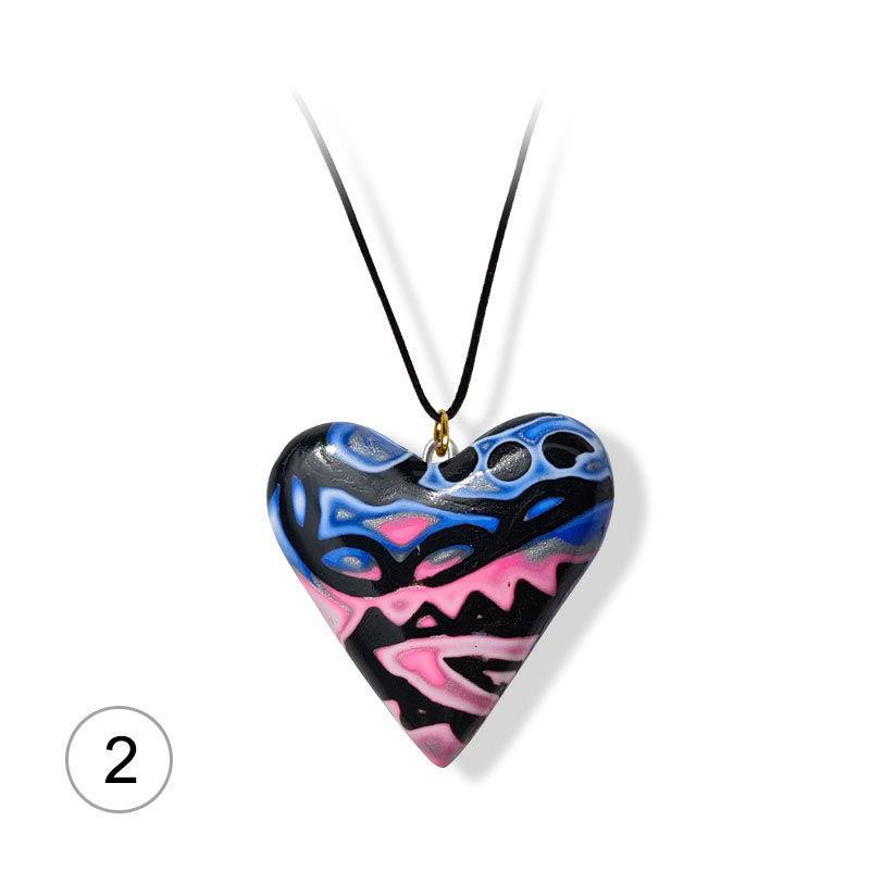Håndlaget hjertesmykke  Hidden Magic, rosa & blå mønster 38x35 mm - 28020735