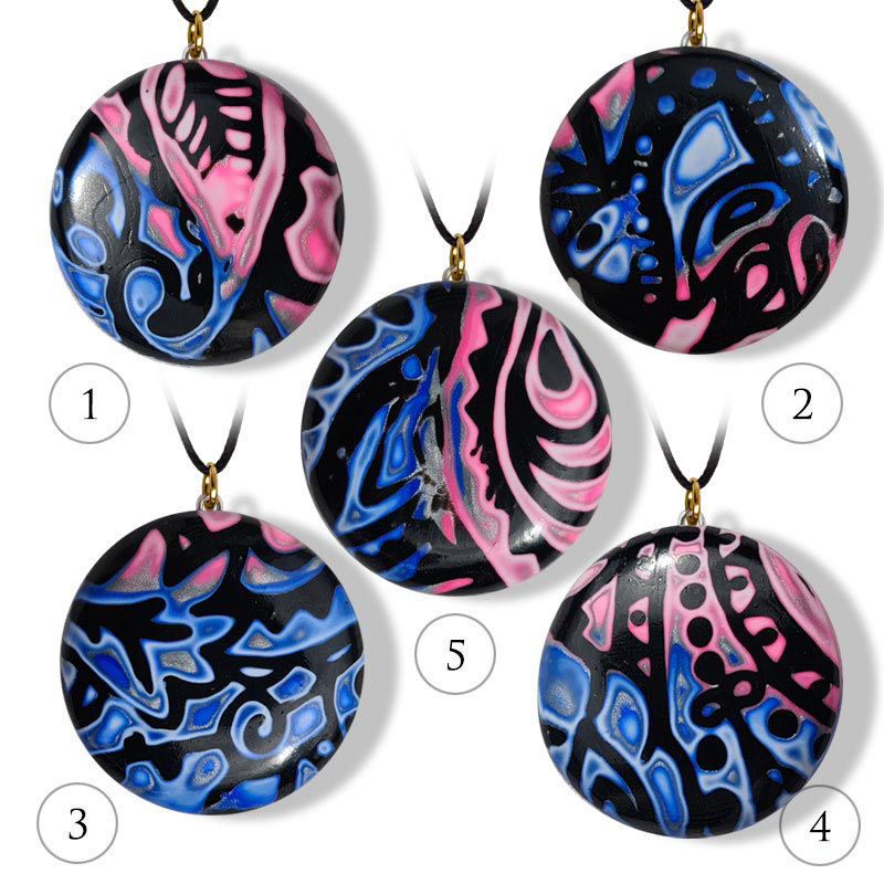 Håndlaget smykke Hidden Magic, rosa & blå mønster - 28020739