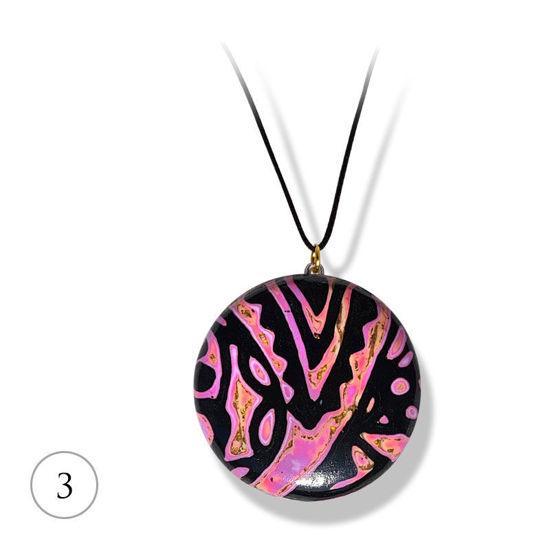 Håndlaget smykke Hidden Magic, Rosa & sort mønster - 28020741