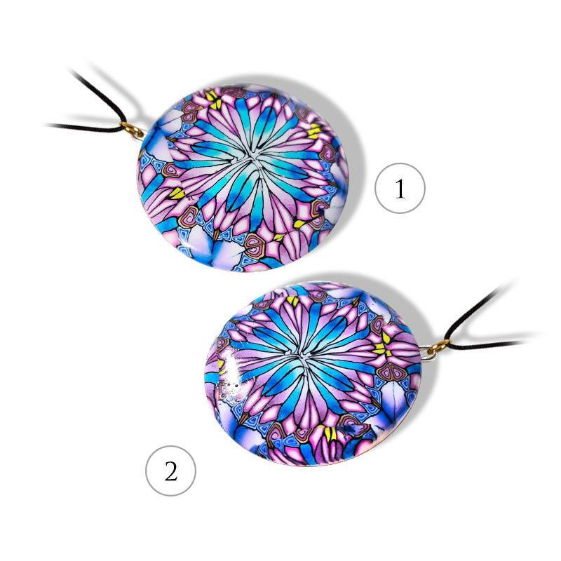 Håndlaget smykke Kaleidoskop, Blå og rosa mønster - 28020740