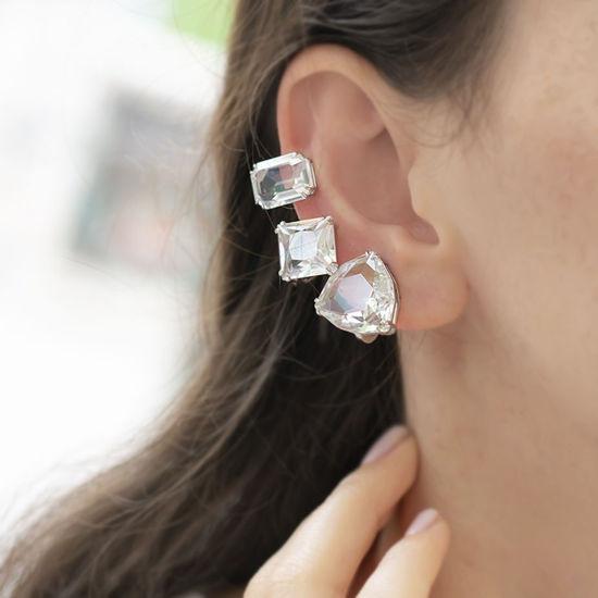 Swarovski øredobber Millenia clip earring Single, Set (3), White, Rhodium plated -5602413