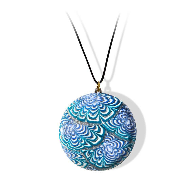 Smykke turkis & blå Krysantemum, med snor-280207467