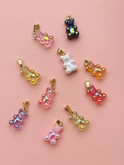 Bilde av Gummibjørn smykker Zuzanna G. CLASSIC, HOT PINK OPAL / GOLD - 1710BEAR-HPOG