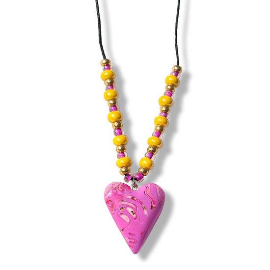 Collierhjerte i rosa, Med glassperler, rosa & gul -280207478