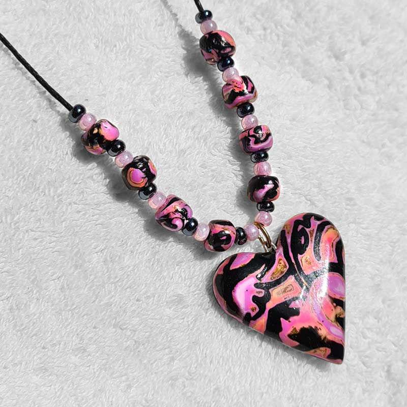 Collier hjerte, Rosa & sort -280207480