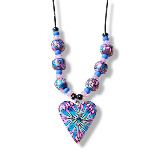Collier med hjerte, Kaleidoskop i blå og lilla - 280207483