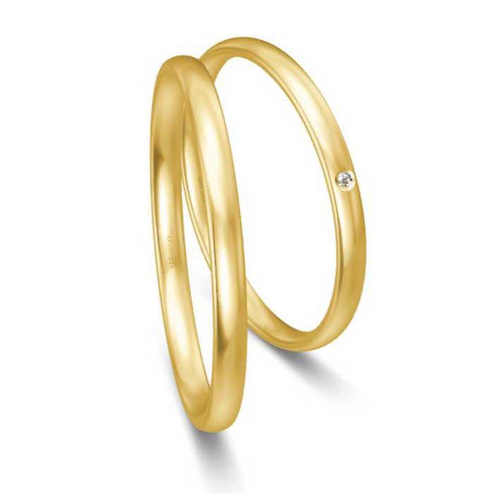 Gifteringer i gult gull 14 kt, 2 mm. BASIC SLIM - 48043030