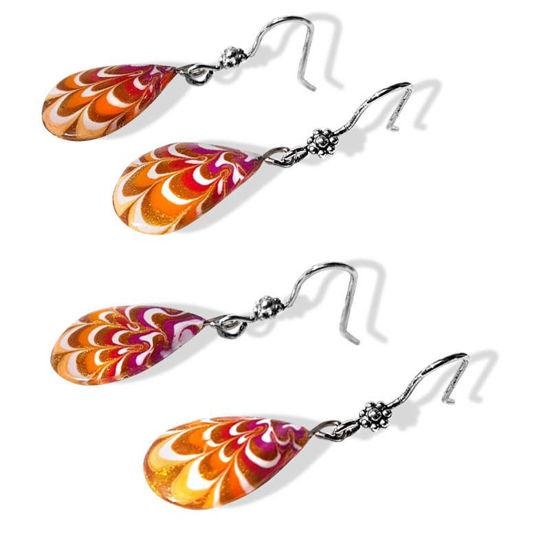 Øredobber Krysantemum, oransje & rød -280207468