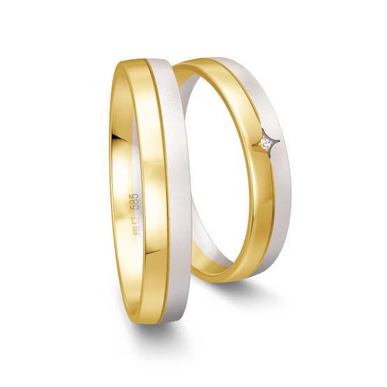 Gifteringer i hvitt og gult gull 9 kt, 4 mm. Smart line - 148070990