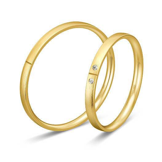 Gifteringer i gult gull 9 kt, 2 mm. BASIC SLIM - 148043290