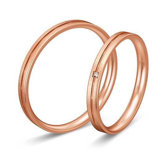 Gifteringer i rødt gull 9 kt, 2.5 mm. BASIC SLIM - 1480432100
