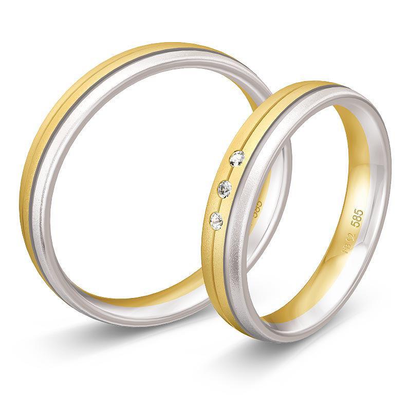 Gifteringer i hvitt & gult gull 9 kt, 3.5 mm. BASIC LIGHT - 14805633