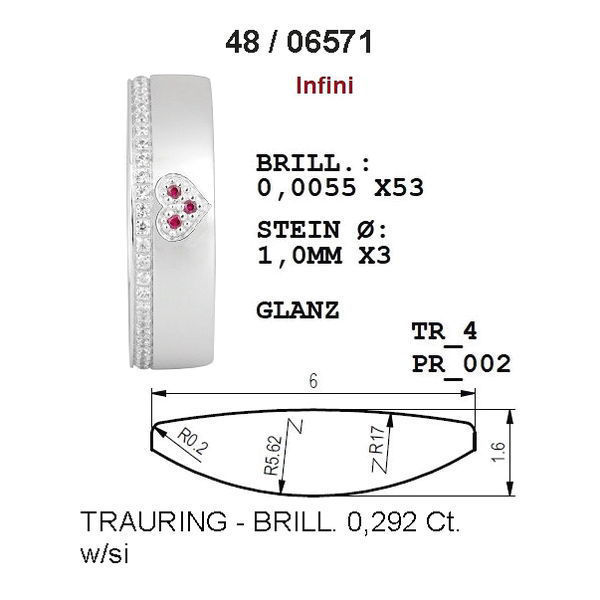 Gifteringer fra Breuning hvitt gull 14kt, 6 mm. INFINI- 48006571