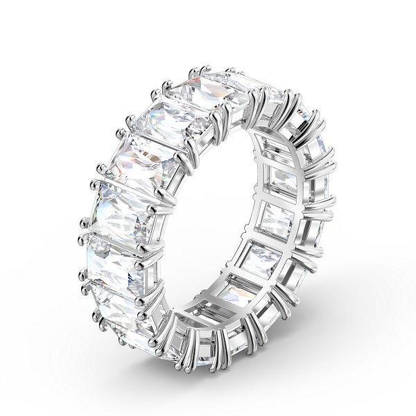 Swarovski Vittore wide ring White, Rhodium plated  - 5562129