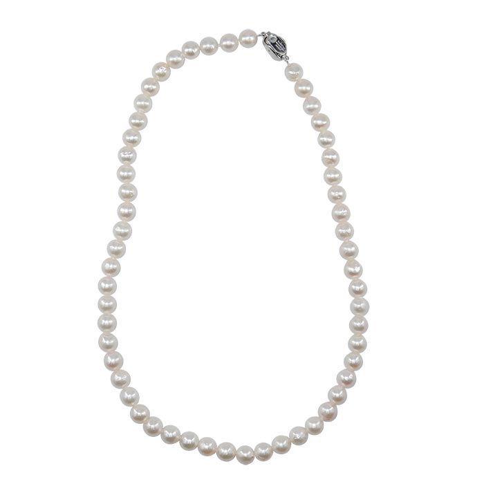 Perlekjede med Akoya perler 7mm, lås i Sølv - 457516