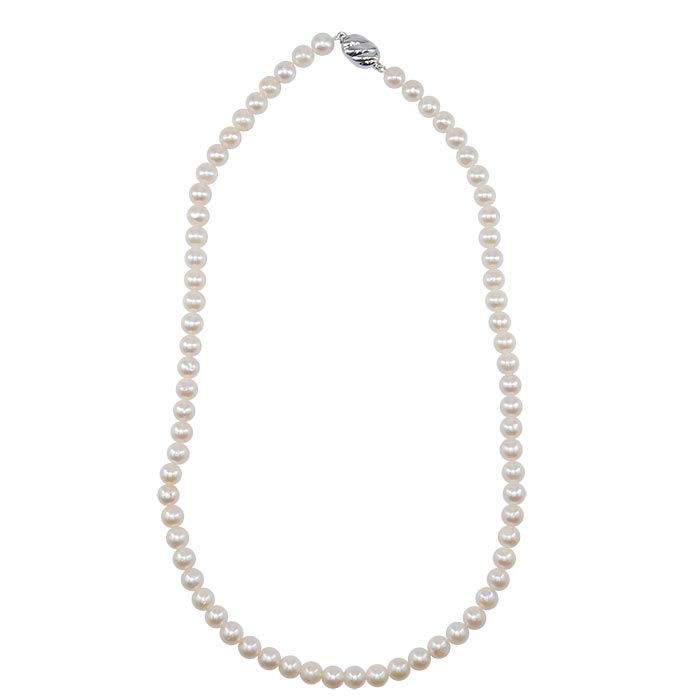 Perlekjede med Akoya perler 6mm, lås i Sølv - 457515