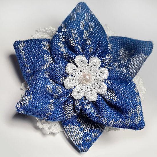 Hårspenne til trønderbunad og fest, 7 cm. Blå - 310816