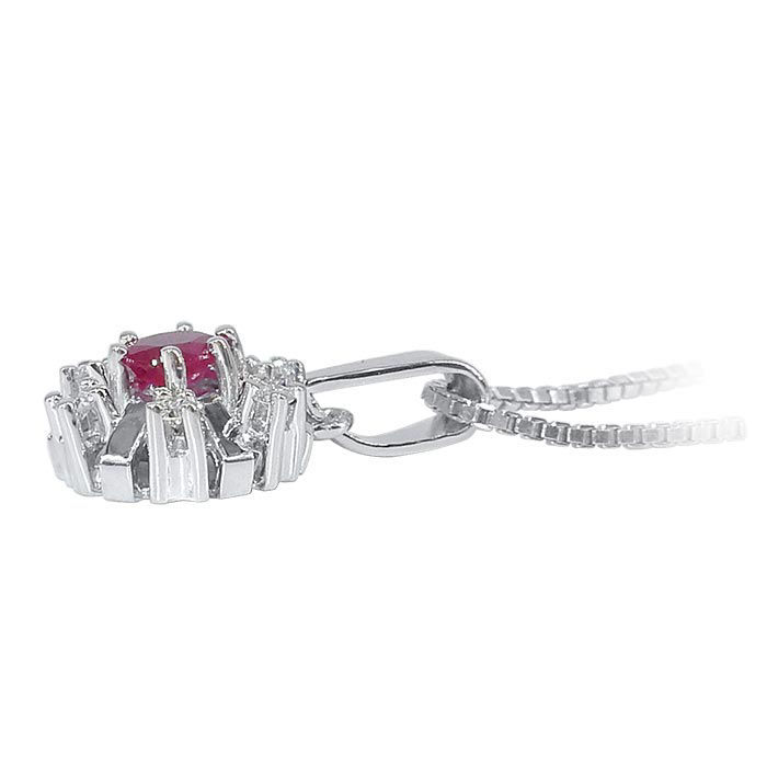 Diamantsmykke med 0,06 ct W-Si og rubin-270158