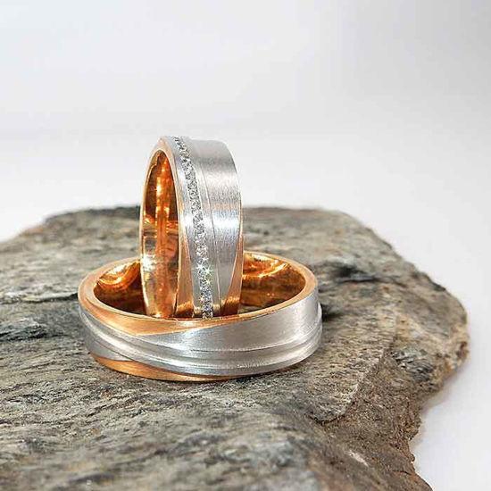 Gifteringer i hvitt og rødt gull 14kt, 6 mm. DESIGNRING 2 - 4805262