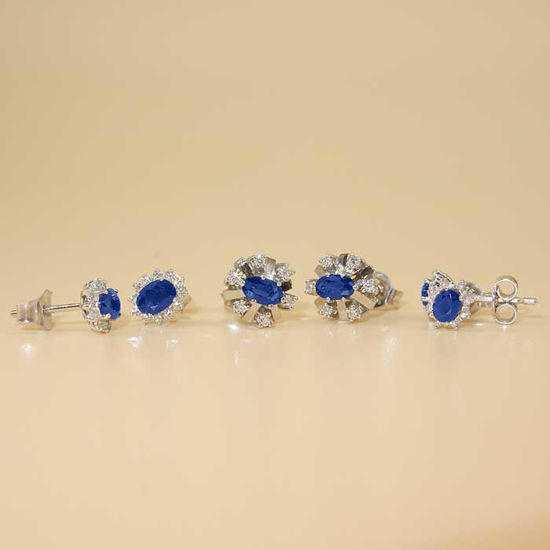 Diamant øredobber i gull 14 kt med 0,12 ct W-SI og safir-RUR760054