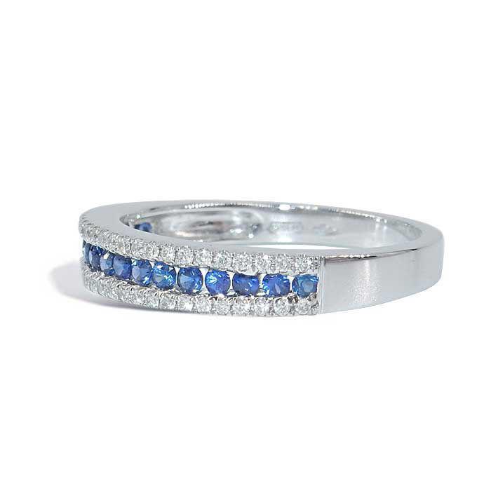 Diamantring i hvitt gull 0,16 ct W-Si med Safir - COC00390