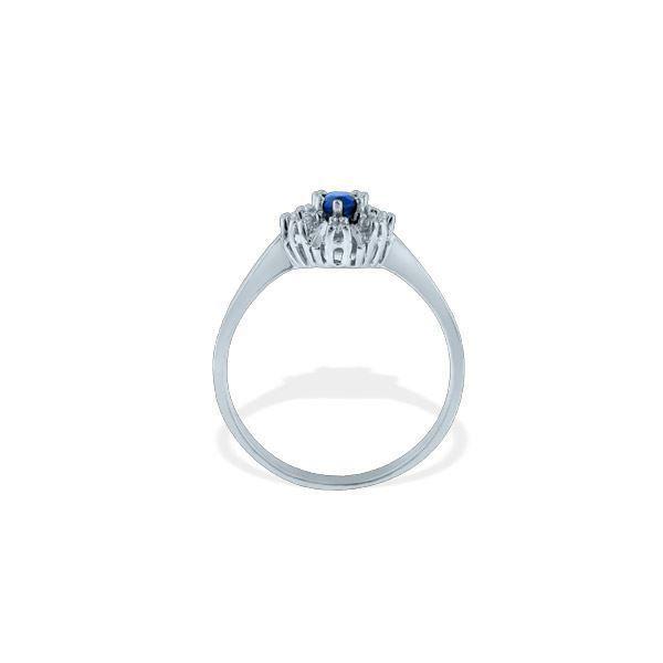 Diamantring med 0,08ct i hvitt gull med safir-577251