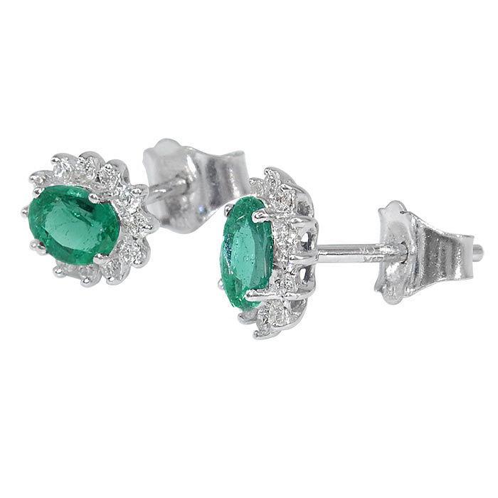 Diamant øredobber i gull 14 kt med 0,16 ct W-SI og smaragd 0,56 -BUR7600150