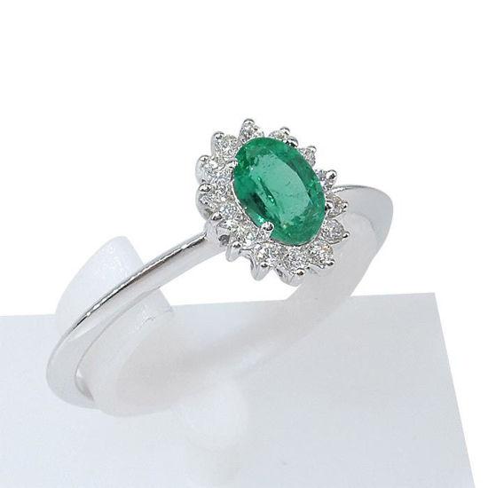 Diamantring med 0,14ct W-Si i hvitt gull og smaragd 0,47-5772520