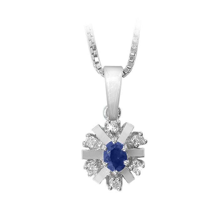 Diamantsmykke med 0,06 ct W-Si og safir-Bur270158