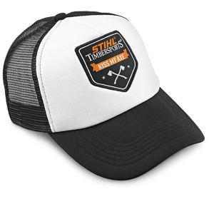Stihl Timbersports trucker cap hvit og svart med kiss my axe logo